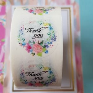 NEW 100 pcs REMOVABLE Clear Thank You Stickers 1""